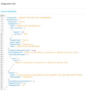 Google DialogFlow - json result