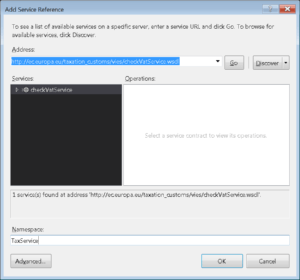 Visual Studio - define new service reference