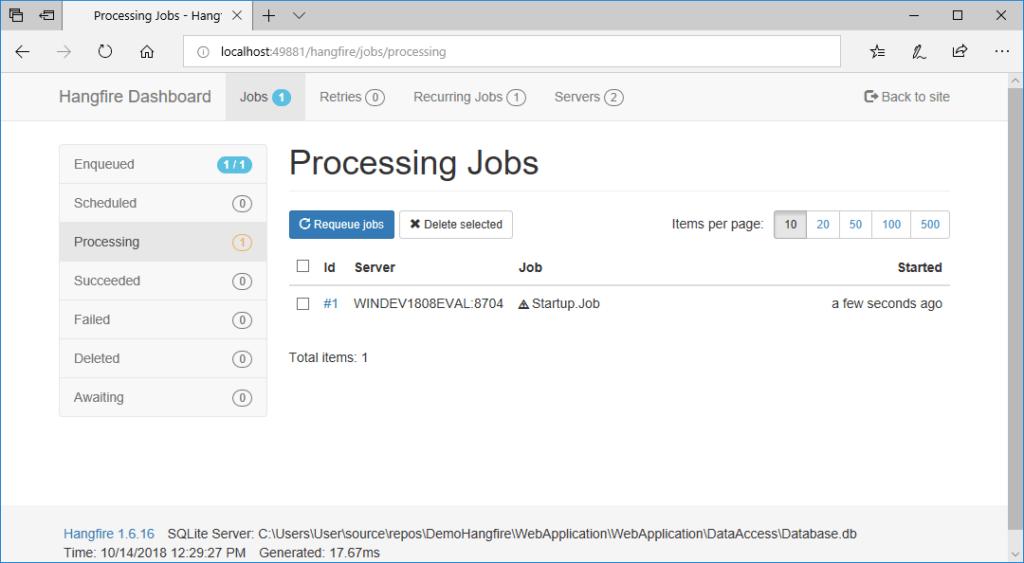 hangfire dashboard processing